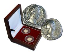 Marcus Aurelius:  The philosopher emperor, a set of two silver coins