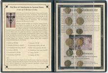 The rise of Christianity in Ancient Rome:  A set of twelve bronze coins