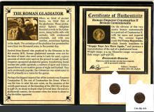 The Roman gladiator:  A bronze coin of Constantius II