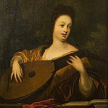 Backhuysen, A young lady playing the Lute, 1705