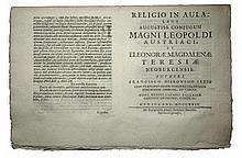 [Poetry, Habsburg] Saxius, 1724