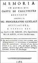 [Masonry, French Revolution] Cagliostro, Memoria, 1786
