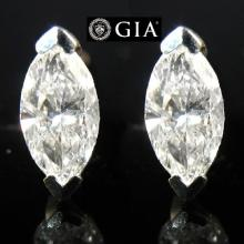 (GIA Certified) 2.04 carat diamond Marquise cut pair 1) 1.01 ct , Color D , IF 2) 1.03 ct , Color D , IF . Appraised Value: $98,600