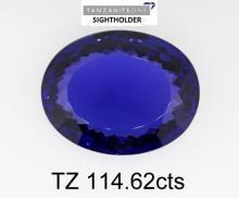 114.62ct Oval cut loose Tanzanite stone. Appraisal Value: $521,600