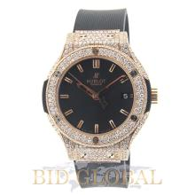 Unisex Custom Designed Hublot Classic Fussion 38mm Red Gold with Diamonds. Appraisal Value: $32,600