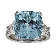 950 Platinum 1.44ct Aquamarine Ring  .Appraisal Value: $29,600
