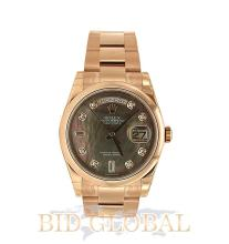 Men's Pink Gold Day Date President #118205 With Dark Mother of Pearl Dial. Appraisal Value: $85,200