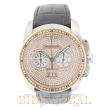 Cartier Calibre Stainless Steel and Rose Gold with Leather Strap. Appraisal Value: $37,200