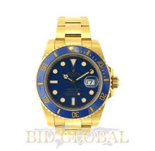 Men's Yellow Gold Rolex Submariner Model 116618 with Blue Dial. Appraisal Value: $96,000