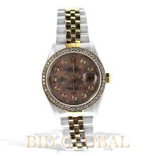 Two Tone Men's Datejust Rolex with Red Floral Dial. Appraisal Value: $18,400