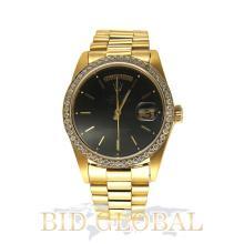 Men's Black Dial Yellow Gold Rolex Day Date with Custom Diamond Bezel. Appraisal Value: $39,200
