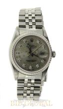 Men's Stainless Steel Rolex Date Just with Floral Dial. Appraisal Value: $12,000