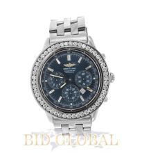 Men's Shadow Flyback Breitling Watch with Custom Diamond Bezel. Appraisal Value: $12,000