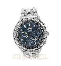 Stainless Steel 3ct 38.2mm Shadow Flyback Breitling Watch with Custom Diamond Bezel. Appraisal Value: $5,600
