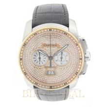 Gold/Stainless Steel 42mm Cartier Calibre Stainless Steel and Rose Gold with Leather Strap. Appraisal Value: $17,400