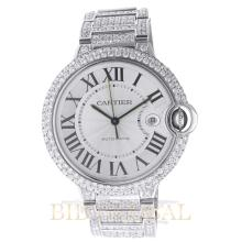 Stainless Steel 42mm Cartier Ballon Bleu Large Size 42mm with Diamonds. Appraisal Value: $31,000