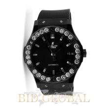 Men's Black Hublot Classic Fusion with Diamond Bezel . Appraisal Value: $44,000