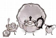 A MATCHED FIVE PIECE BACHELORS SILVER TEA SERVICE