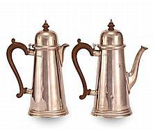 A GEORGIAN STYLE SILVER COFFEE & TEA POT