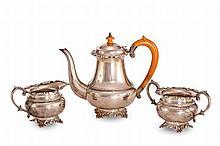 A MATCHED THREE PIECE SILVER TEA SERVICE
