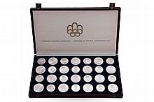 A COMPLETE SET OF LIMITED ISSUE OF SEVEN SERIES OF CANADIAN OLYMPIC SILVER COINS COMMEMORATING THE XXI OLYMPIC GAMES IN MONTREAL