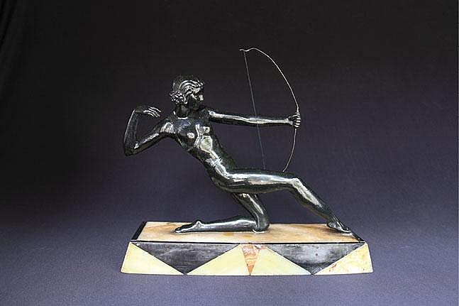 An Art -Deco bronze Limousin (France) sculpture of Diana-The Huntress