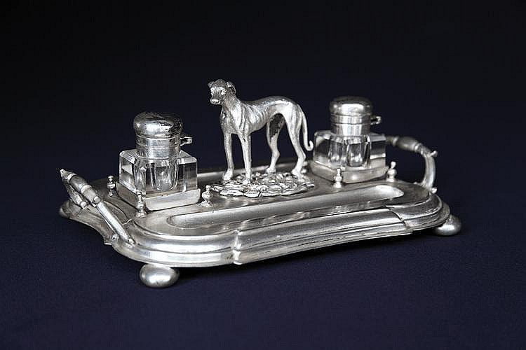 An Art -Deco greyhound set of two silver plated inkwells