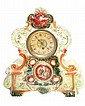 A PAINTED PORCELAIN ROCOCO STYLE CLOCK