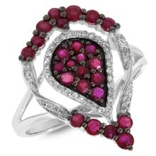 Natural 1.20 ctw Diamond & Ruby Ring 14KT White Gold - SKU#-M44M3-S8043