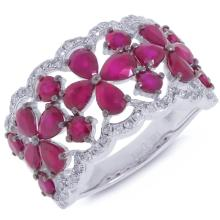 Natural 3.84 ctw Diamond & Ruby Ring 14KT White Gold - SKU#-W80N3-S8131