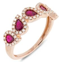 Natural 1.23 ctw Diamond & Ruby Ring 14KT Rose Gold - SKU#-L52F2-S8037