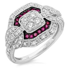 Natural 0.77 ctw Diamond & Ruby Ring 14KT White Gold - SKU#-J119H3-S8001