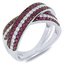 Natural 1.36 ctw Diamond & Ruby Ring 14KT White Gold - SKU#-C105T1-S8040
