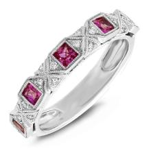 Natural 0.53 ctw Diamond & Ruby Ring 14KT White Gold - SKU#-W56A3-S8023