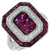 Natural 1.48 ctw Diamond & Ruby Ring 14KT White Gold - SKU#-H128J2-S8045