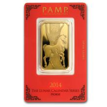 Fine Gold Bar 1 oz - Pamp Suisse Year of the Horse (In Assay)