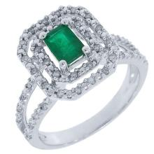 Natural 0.84 ctw Diamond & Emerald Ring 14KT White Gold - SKU#-T34C3-S8028