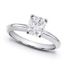 14K White Gold Ring EGL Certified 0.91ct Radiant Diamond (D-SI3) - REF#- G191Y3- BR827022