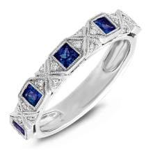 Genuine 0.09ct Diamond & 0.57ct Blue Sapphire 14k White Gold Lady's Band - BSC#57T7C