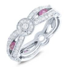 Genuine 0.82ct Diamond & 0.32ct Pink Sapphire 14k White Gold Lady's Ring - BSC#106R1V