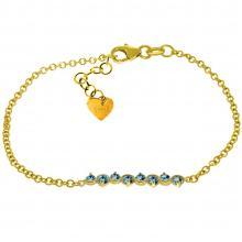 14KT Yellow Gold 1.55 ctw Blue Topaz Bracelet -REF#- H32G2- 85082