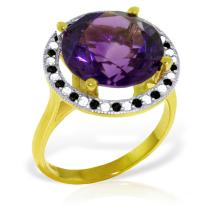 14KT Yellow Gold 6.2 ctw Amethyst, White & Black Diamond Ring - REF#- F53V6- 65211