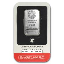Fine Platinum Bar - 1 oz - Engelhard (In Assay) - BR150091
