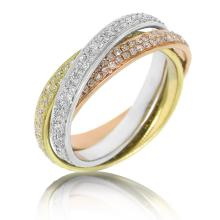 Natural 1.22 ctw Diamond Eternity 3pcs Ring 14KT 3-Tone Gold - SKU#-W124M1-S8195