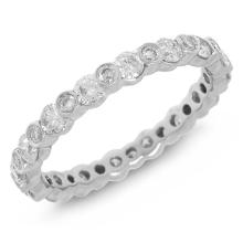 Natural 1.22 ctw Diamond Eternity Ring 18KT White Gold - SKU#-Y115X1-S8194