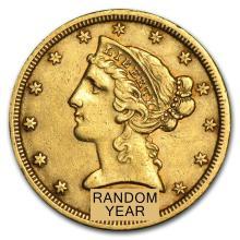 Circulated $5 Liberty Gold Half Eagle (Random Years)