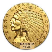 Circulated $5 Indian Gold Half Eagle (Random Years)