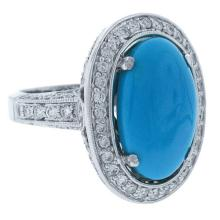 Natural 14.25 ctw Diamond & Composite Turquoise Ring 14KT White Gold - SKU#-W220N3-S8078