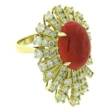 Natural 8.81 ctw Diamond & Red Coral Ring 14KT Yellow Gold - SKU#-G343K1-S8155
