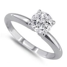 14K White Gold Ring EGL Certified 0.77ct Round Brilliant Diamond (H-VVS2) - REF#- V198G7- BR828969